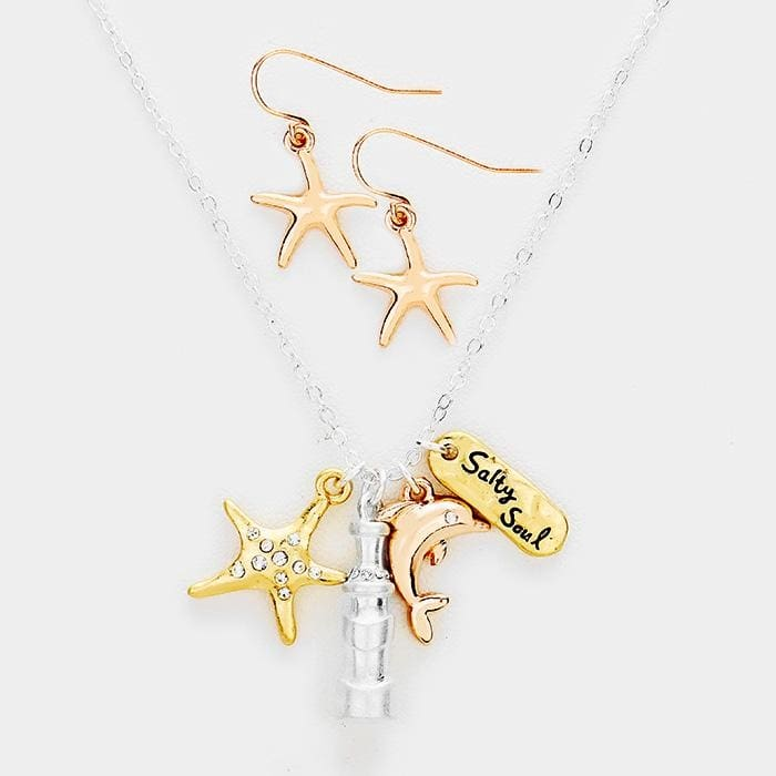 Salty Soul Stone Starfish Dolphin Pendants Necklace - Multi - Jewelry