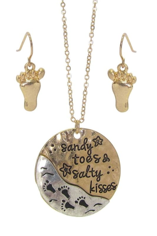 Sandy Toes & Salty Kisses Sea Life Pendant Necklace Set - Worn Gold/worn Silver - Jewelry