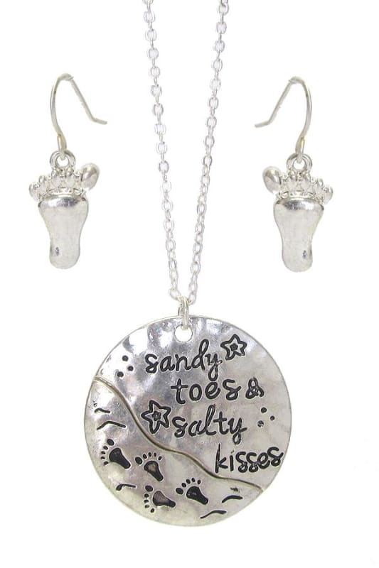 Sandy Toes & Salty Kisses Sea Life Pendant Necklace Set - Worn Silver - Jewelry
