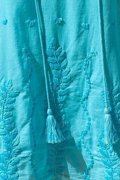Sea Garden Cotton Tunic Beach Coverup - Xl / Default / Aqua - Apparel
