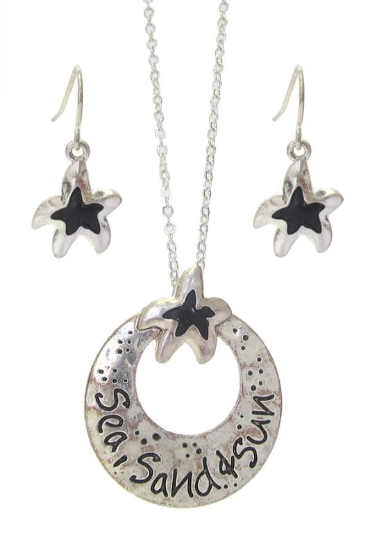 Sea Sand & Sun Sea Life Message Pendant Necklace Set - Worn Silver - Jewelry