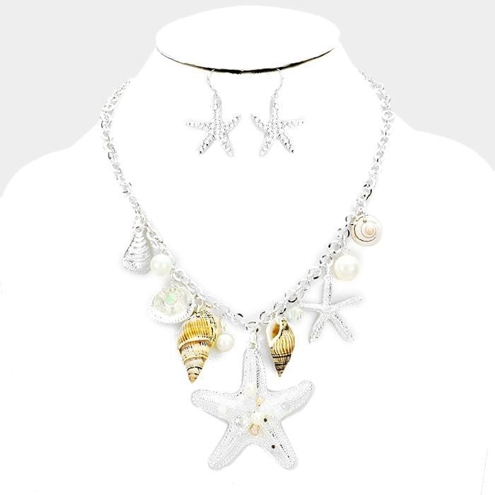 Sealife Charms Embellished Starfish Accented Necklace - Jewelry