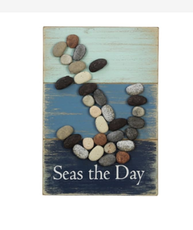 Seas The Day (Pebble Art Anchor Box Set) - 6.50 X 1.50 X 9.50 - Wood Signs