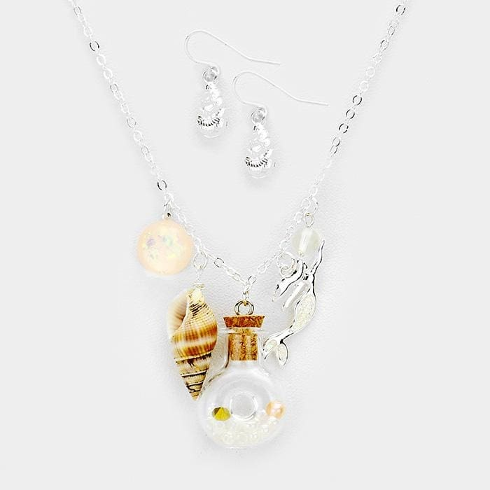 Shell Bottle Mermaid Charms Pendant Necklace - Default - Jewelry