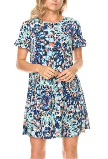 Short Ruffle Sleeve Tie Dye Medallion Print Dress - Small / Blue - Apparel