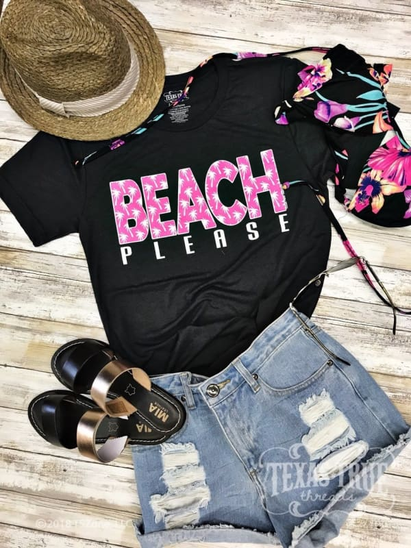 Beach Please Short Sleeve Tee Shirt - Dark Grey/pink / Xs - Graphic Tees