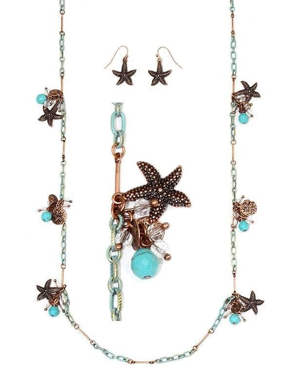 Starfish Long Station Necklace Set - Turquoise/copper/silver - Necklace & Earring Sets