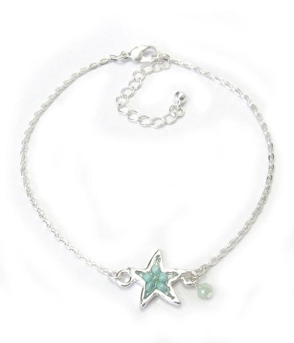 Starfish Multi Bead Charm Anklet - Silver - Anklets