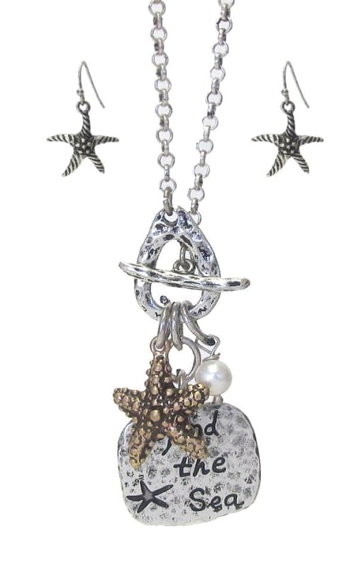 Starfish Pendant Toggle Necklace Set - Silver Burnish/gold Burnish - Jewelry