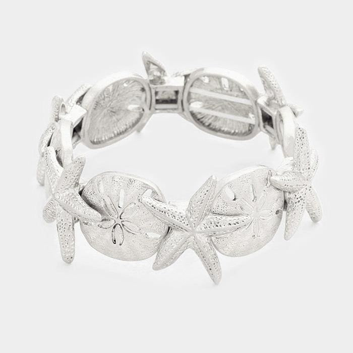 Starfish & Sand Dollar Stretch Bracelet - Silver - Jewelry