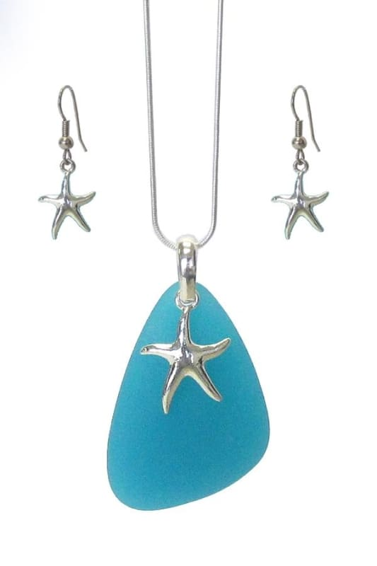 Starfish Sea Glass Pendant Necklace Set - Turquoise - Jewelry