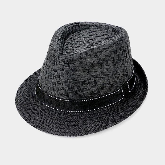 Stitch Ribbon Trim Straw Fedora Hat - Black - Hats