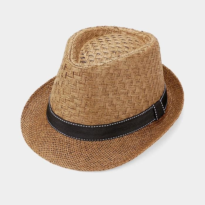 Stitch Ribbon Trim Straw Fedora Hat - Brown - Hats