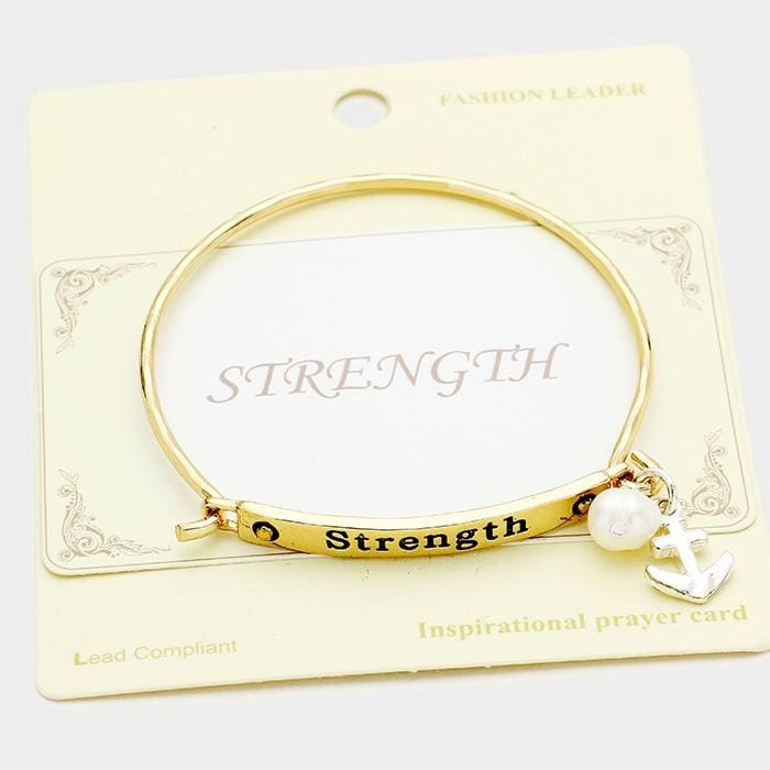 Strength Metal Hook Bracelet W/anchor Charm - Gold - Jewelry