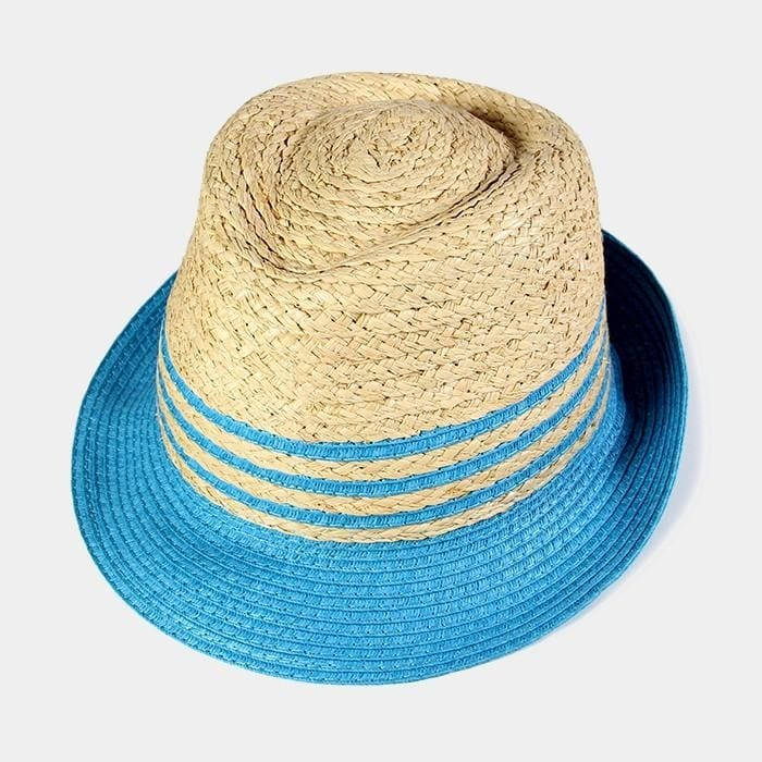 Striped Color Block Straw Fedora - Blue - Hats