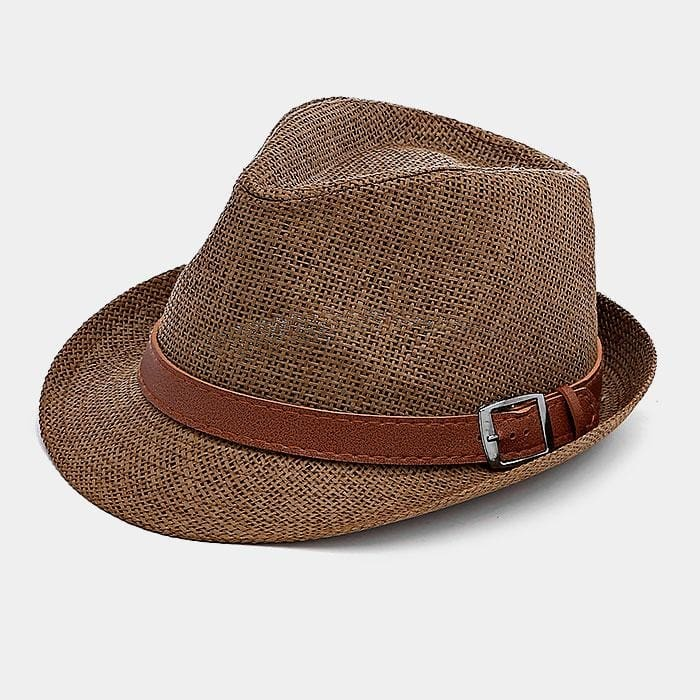 Striped Color Block Straw Fedora Hat - Coffee - Hats