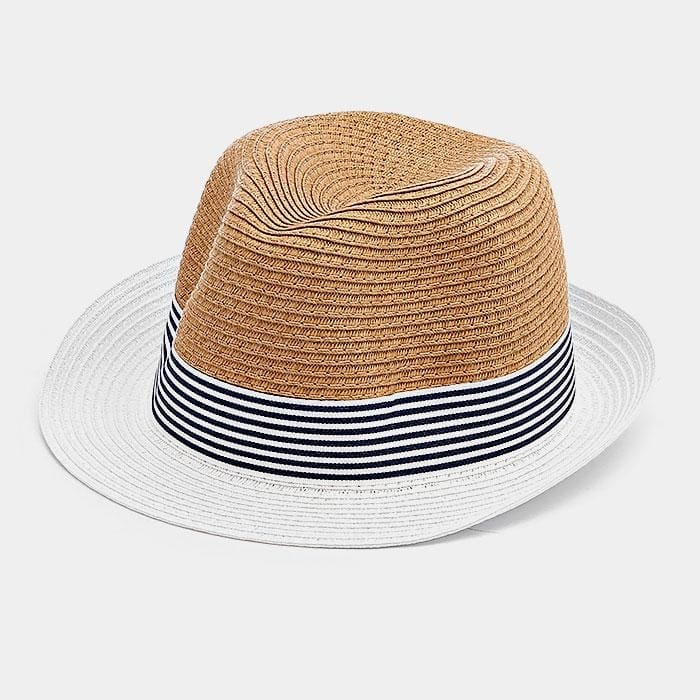 fac114a5b30a7 Striped Color Block Straw Fedora Hat - White - Hats. Striped Color Block  Straw Fedora Hat - White - Hats