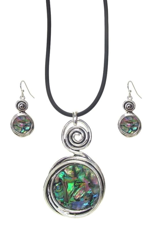 Swirl Abalone Pendant Necklace Set - Antique Silver - Jewelry
