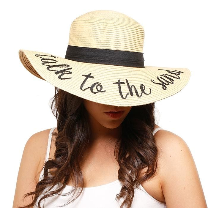 Talk To The Sand Embroidered Straw Floppy Sun Hat - Hats
