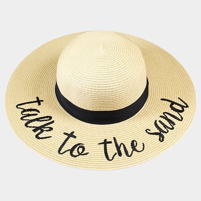 Talk To The Sand Embroidered Straw Floppy Sun Hat - Beige - Hats