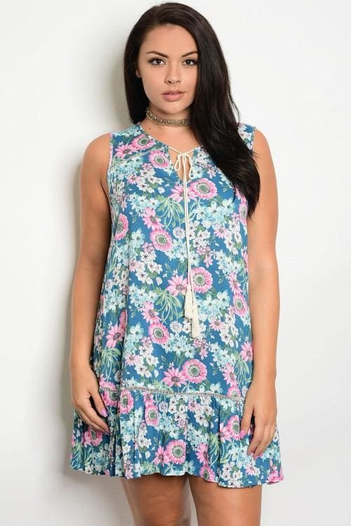Teal Floral Plus Size Dress - 1Xl - Dress