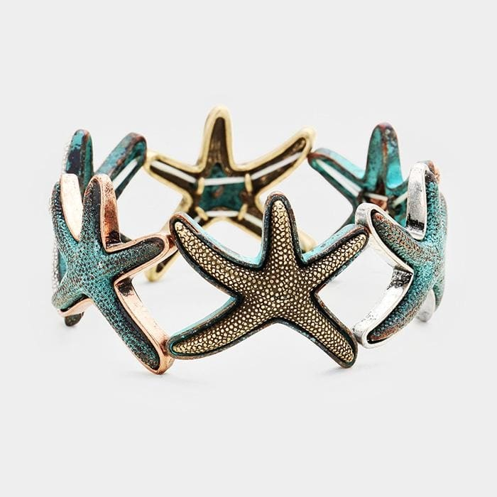 Textured Starfish Metal Stretch Bracelet - Patina Verdigis - Jewelry