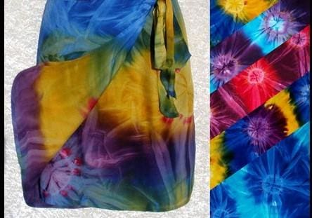 Tie Dye Short Wrap Skirt - Default - Sarongs