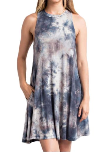 Tie Dye Trapeze Dress - Small / Grey - Apparel