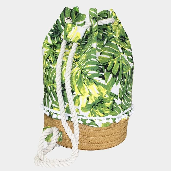 Tropical Left Tiny Pom Pom Drawstring Bucket Bag - Green - Hand Bags