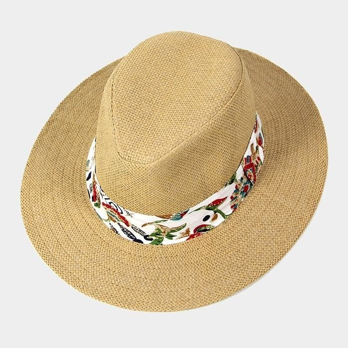 Tropical Print Band Fedora - Beige - Hats