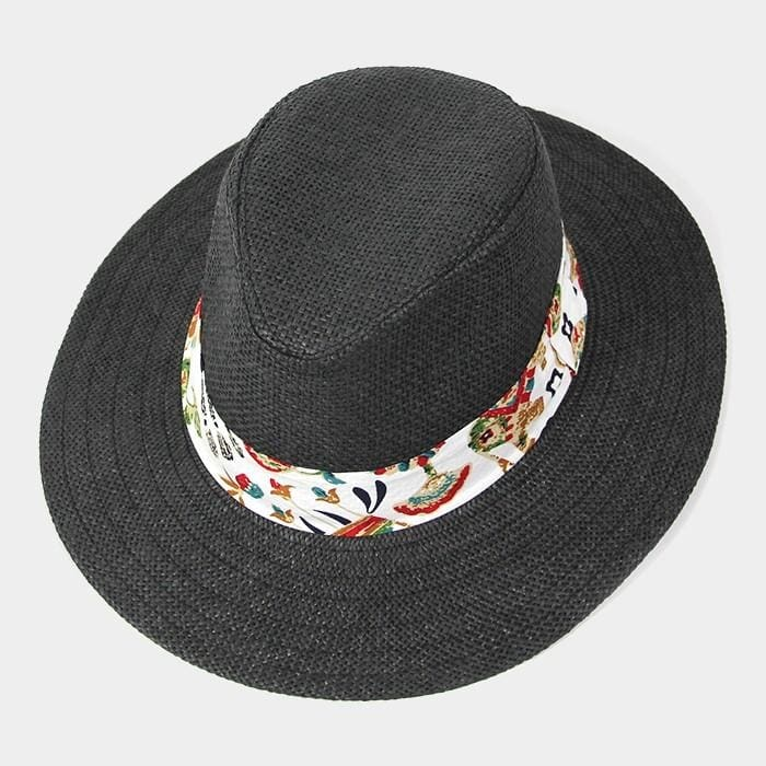 Tropical Print Band Fedora - Black - Hats
