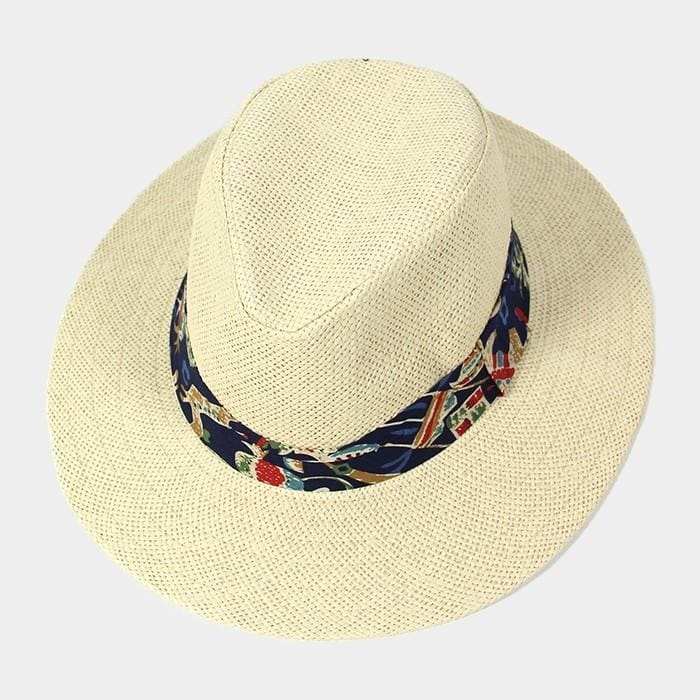 Tropical Print Band Fedora - Ivory - Hats