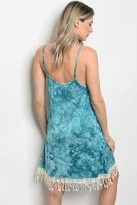 Turquoise Tie Dye Dress - Dress