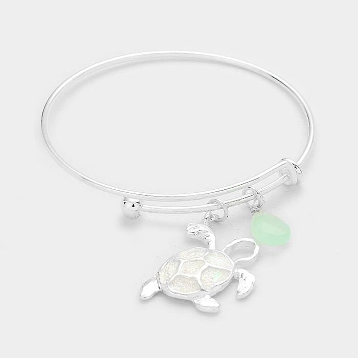 Turtle Teardrop Charms Hook Bracelet - Default - Jewelry
