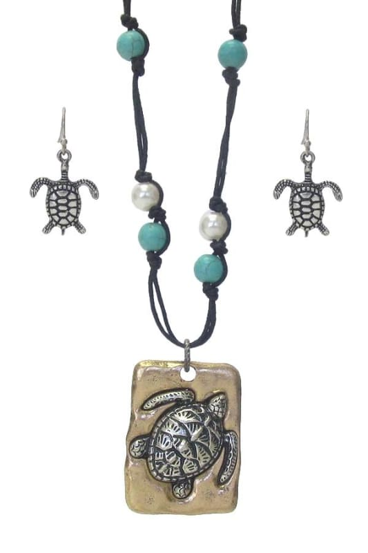 Turtle & Turquoise Pendant Necklace Set - Gold Burnish/silver Burnish/turquoise - Jewelry