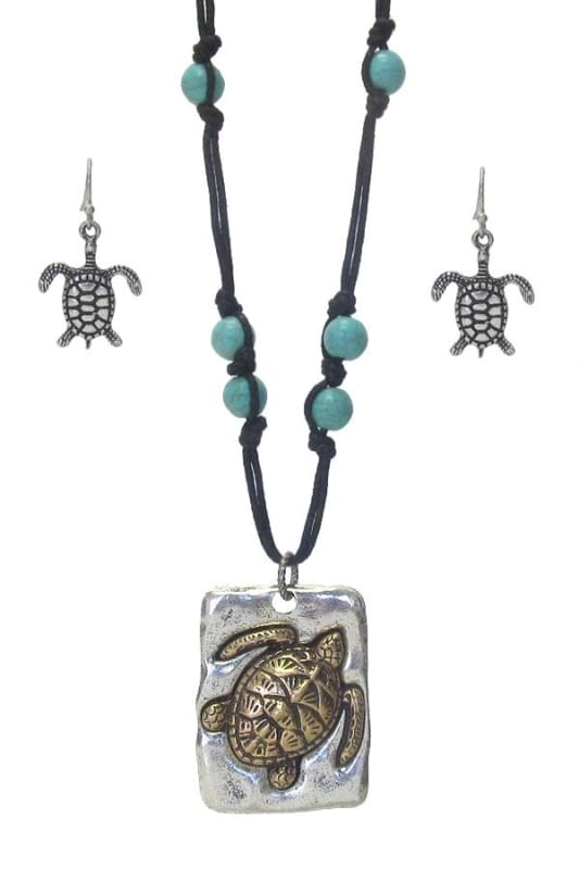 Turtle & Turquoise Pendant Necklace Set - Silver Burnish/gold Burnish - Jewelry