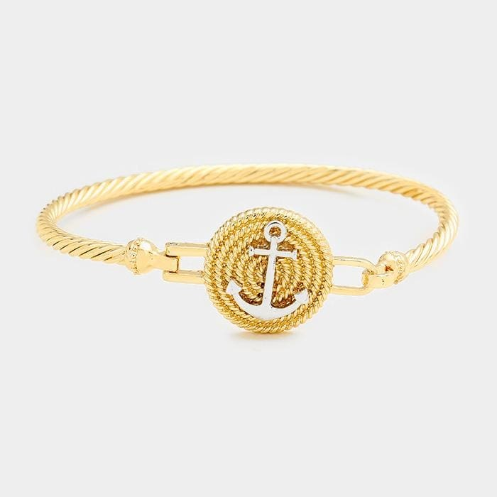 Two Tone Anchor Metal Hook Bracelet - Gold - Jewelry