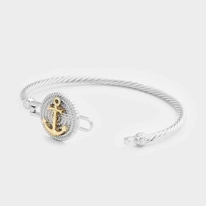 Two Tone Anchor Metal Hook Bracelet - Jewelry