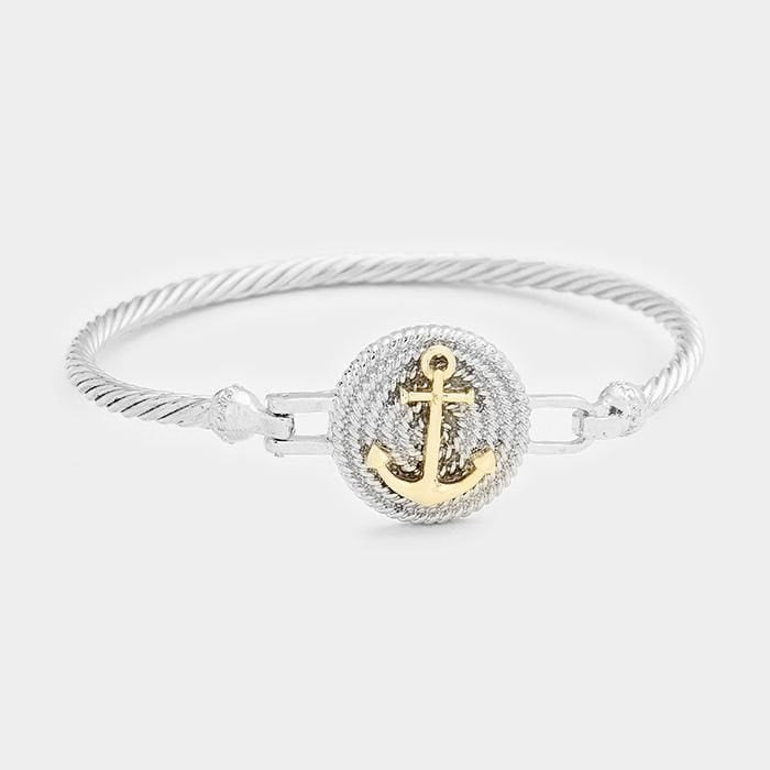 Two Tone Anchor Metal Hook Bracelet - Silver - Jewelry