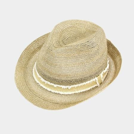 Two Tone Band Straw Fedora - Gold - Hats