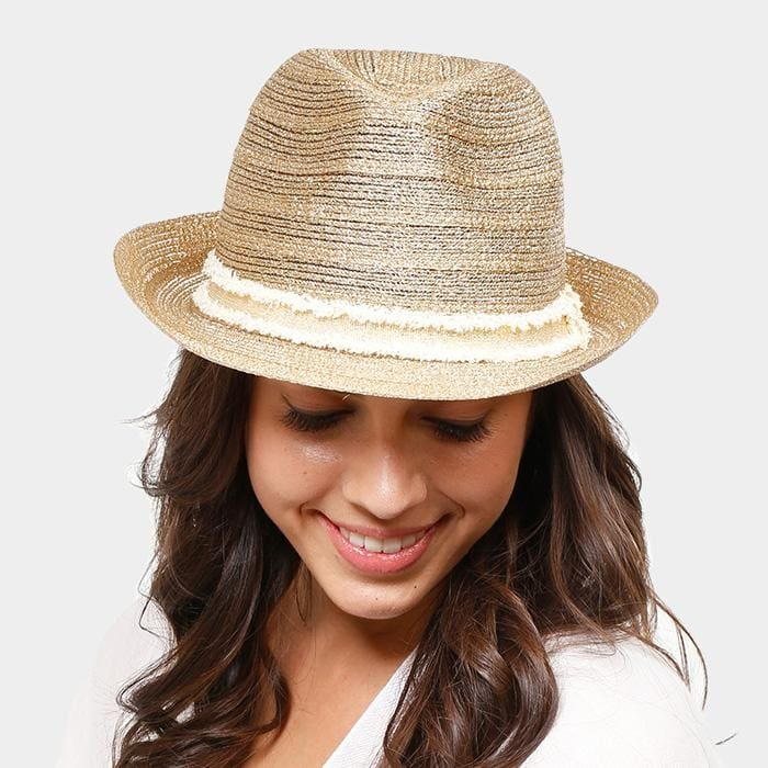 Two Tone Band Straw Fedora - Hats