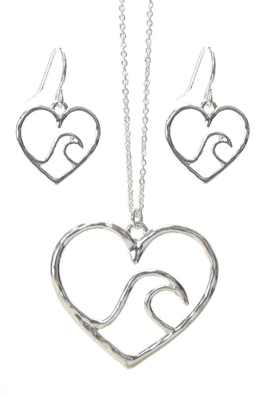 Wave In Heart Pendant Necklace Set - Silver - Jewelry