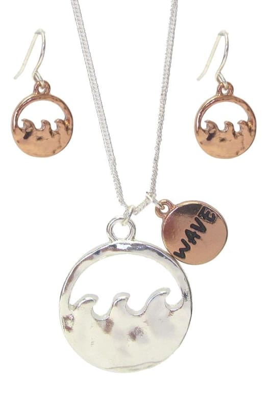 Wave Pendant Necklace Set - Rose Gold - Jewelry