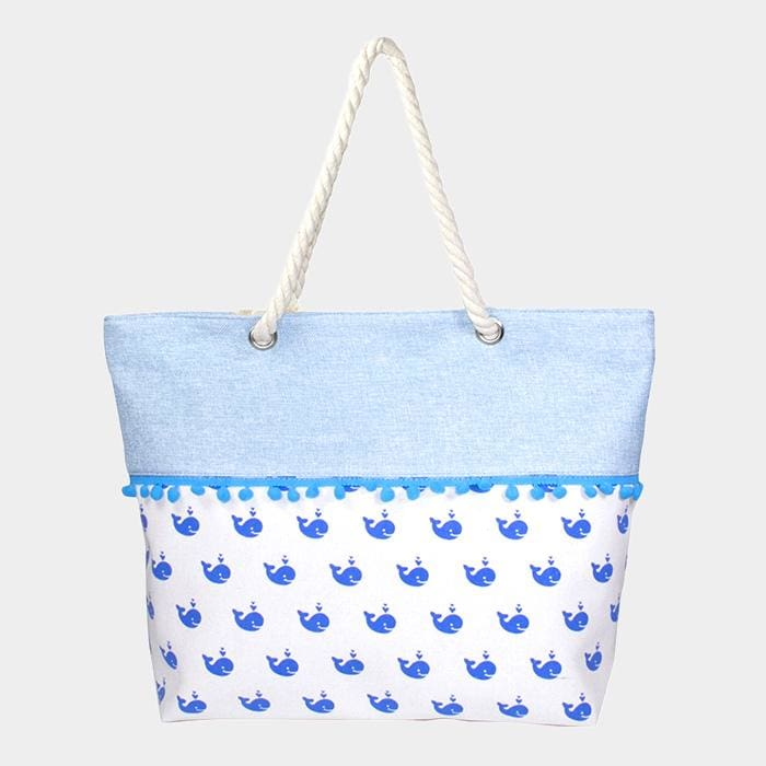 Whale Pattern Print Tiny Pom Pom Tote Bag - Blue / Whales - Hand Bags
