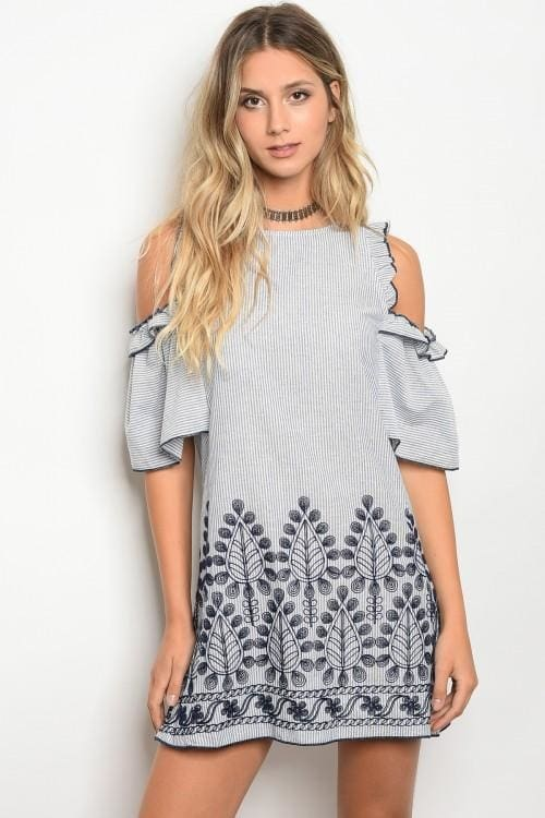 White Blue Dress - Small - Dress