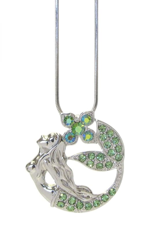 White Gold Plating Crystal Mermaid Pendant Necklace - White Gold - Jewelry