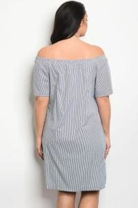 White Navy Stripes Plus Size Dress - Plus Dress