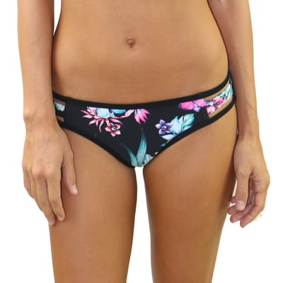 Wild Flower Strappy Side Bottom - S / Wild Flower - Swimwear
