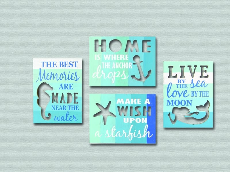 Wood Box Signs ~ Anchor Mermaid Starfish Seahorse - Anchor - Box Sign