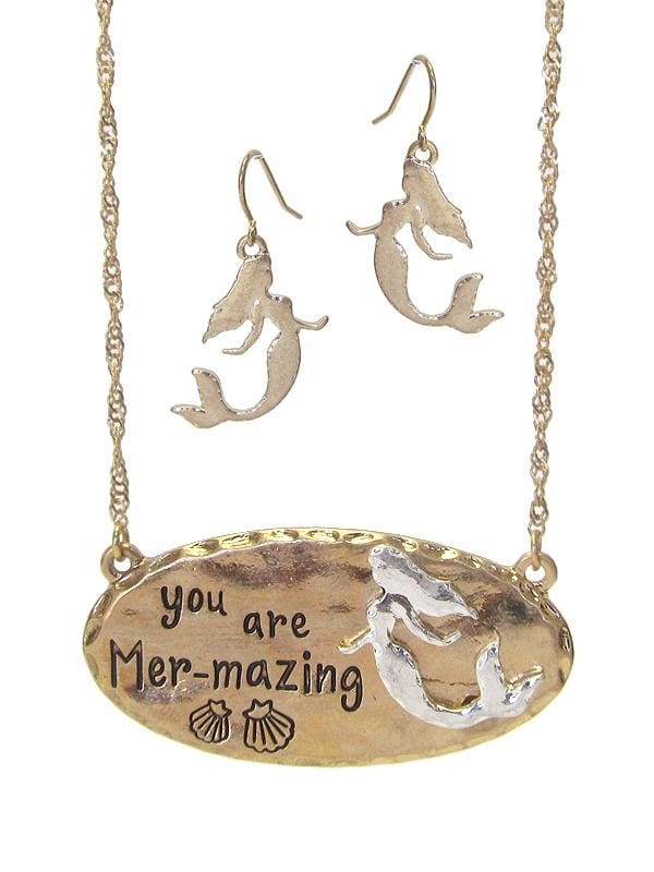 You Are Mer-Mazing Sea Life Theme Pendant Necklace Set - Worn Gold - Jewelry